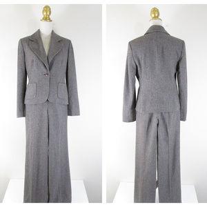 LOFT Gray Brown Wool Tweed Pant Suit Career